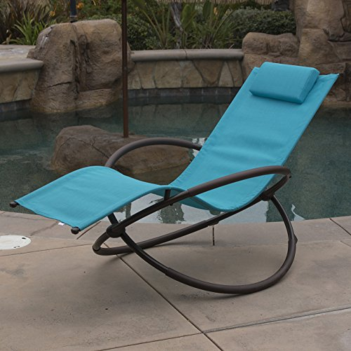 Ocean Blue Foldable Patio Rocking Chair