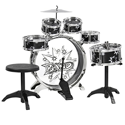 Best Choice Products 11-Piece Kids Starter Drum Set for Beginner Learning, Motor Development, Creativity, Musical Skill w/Bass Drum, Tom Drums, Snare, Cymbal, Stool, Drumsticks - Black