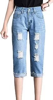 Women Capri Pants Hole Cuffed Denim Slim Trousers Jeans