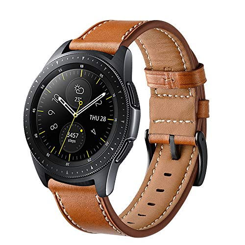 Aimtel Compatible Samsung Galaxy Watch(42mm) Bands, 20mm Genuine Leather Strap Replacement Band Compatible Samsung Galaxy Watch SM-R810/SM-R815 /Gear Sport/Suunto 3 Fitness Smart Watch-Brown
