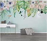 Selbstklebende Tapeten Tapeten Wohnzimmer Rasch Tapeten Original Nordische Kleine Frische Handbemalte Bettwäsche Tropische Pflanzen Blumen Tapeten Wandbilder Hintergrund, 350Cm * 245Cm