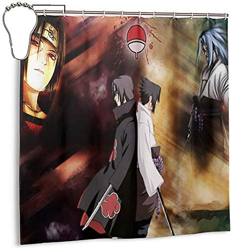 Japanische Naruto-Duschvorhang Anime 3D-Druck-Wasserdichter Polyester-Gewebe-Badezimmer-Vorhang-Zubehör Mit Haken (Naruto)-L/180X200Cm