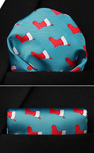 HISDERN Christmas Tie for Men, Holiday Season Party Necktie & Pocket Square Set