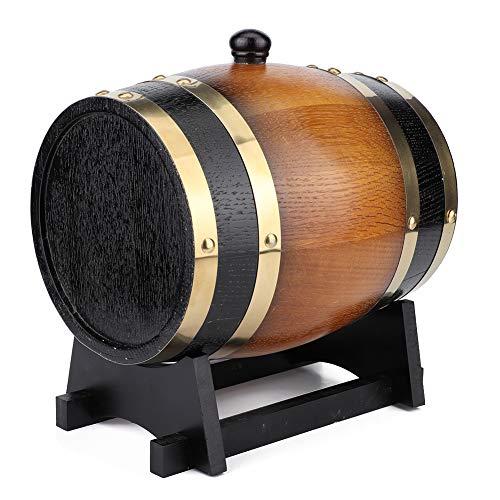 Barril de vino de madera de roble, barril de envejecimiento retro de gran capacidad de 3 litros, contenedor de barril de vino tinto para vino, brandy, whisky, tequila en el hogar, cafetería, hotel