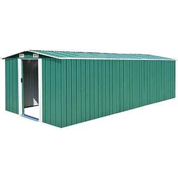 UnfadeMemory Caseta de Almacenamiento de Metal de Jardín,Cobertizo Exterior para Almacenar Herramientas (Verde, 257x597x178cm): Amazon.es: Hogar