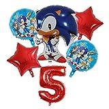 Jgzwlkj Globo 6pcs Sonic The Hedgehog Super Hero Hoja hincha Set 30 Pulgadas Partido Número de Helio Globos Aire niños Brithday Feliz Decoración (Color : Red Number 5 Set)