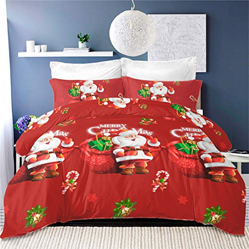 3Pcs Christmas Duvet Cover Cute Santa Claus Bedding Set Queen Size,Kids Cartoon Quilt Cover New Year Gifts Festival Bedding,Red