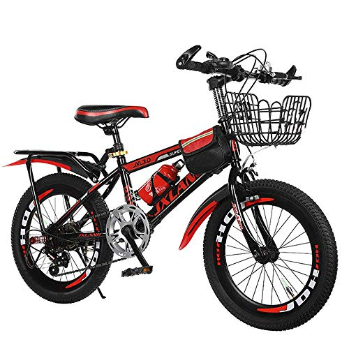 LUO Fahrrad High Carbon Steel Mountainbike, 6-13 Jahre altes Jungen- und Mädchenrad, 18-22 Zoll Elementary Speed Fahrrad, grün, 22 Zoll,rot,20 Zoll