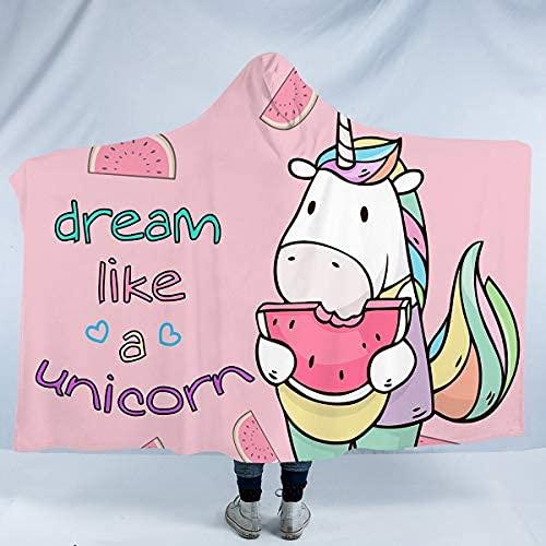 Manta con capucha para niños y niñas, con diseño de unicornio, con flores, manta de forro polar, color negro y rosa (127 x 152 cm)