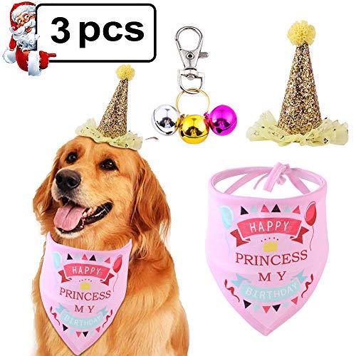 JoGoi Bandanas voor Hond Kat Baby Verjaardag Hoed Huisdier Verjaardag Gift Set Driehoek Sjaal met Bell, Bandana Hoofddeksels Haar Kat Verjaardag Outfit en Decoratie, Eén maat, roze