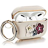 V-MORO Case Compatible with Airpods Pro Cases, Flowers Leather Airpod Pro Case Cover for Airpods Pro [Front LED Visible] Protective Airpod 3 Skin Support Wireless Charging Ivory White