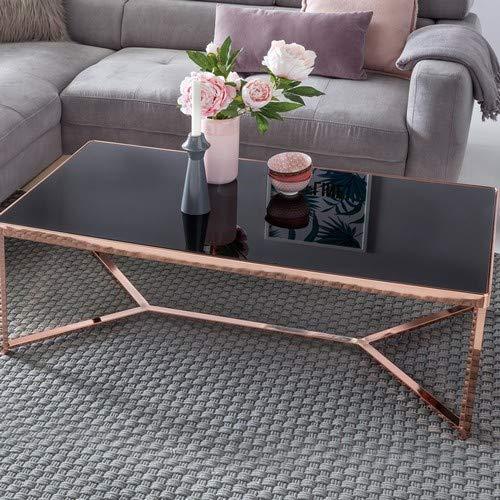 Superbe Design : Table ou Plateau en Verre Noir/Cadre cuivré 120 x 60 x 41 cm Table de Salon Effet Miroir Table de canapé Moderne en Verre Table Basse carrée
