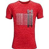 Under Armour Boys' Tech Gradient Word Mark Short-Sleeve T-Shirt , Red (600)/Mod Gray , Youth Medium