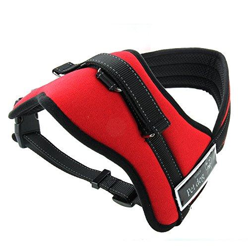 Haustier Wasserdicht softem Mesh-Material Hund Welpen Haustier verstellbares Geschirr Bleigürtelclip L 60-75cm (Color : Red)