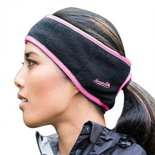 Noosa Life | Ponytail Headband | 3 Colors | Warm Fleece for Outdoor Sports and Fitness | Ear Warmer & Sweatband | Super Sweat Absorbent | Perfect for Running or Yoga,Black