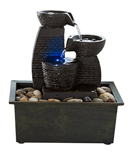 Indoor Water Fountain With LED Lights- Lighted Jug Tiered Tabletop Fountain With 3 Pots and Soothing Sound for Office and Home Décor By Pure Garden