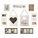 Gallery Perfect 17FW1938 Rustic Collage Gallery Wall Kit Picture Frame Set, Multi Size - 4' x 6', 5' x 7', White, 9 Piece