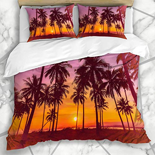 Bedding Duvet Cover Set - Light Green Summer Coconut Palm Trees On Urban Beach Sunset Nature View Night Tropical Spring - Brushed Microfibre Duvet Cover with Pillowcases-Super king(260 * 220cm)