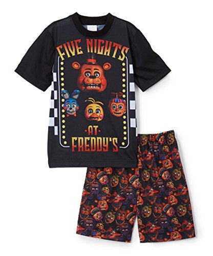 Five Nights at Freddy's 'Jump Scare Bear Checker Board' Big Boy Video Game Pajama 2pc Short Set, Black, 8
