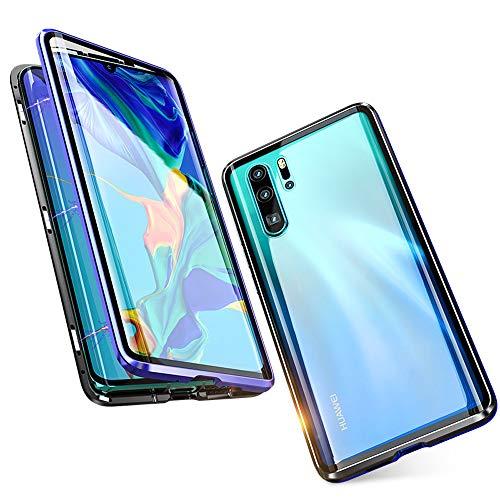 Jonwelsy Funda para Huawei P30 (6,1 Pulgada), 360 Grados Delantera y Trasera de Transparente Vidrio Templado Case Cover, Fuerte Tecnología de Adsorción Magnética Metal Bumper Cubierta (Azul/Negro)
