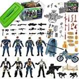 Police Patrol Special Forces Action Figures Soldiers Vehicles & Accessories - Military Toy Combat Mega Playset in Storage Bucket (75 Pieces)