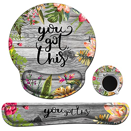 Ergonomic Mouse Pad with Wrist Support Gel and Keyboard Wrist Rest Set + Coaster, You Got This Inspirational Saying Wreath Design, Soft Memory Foam Easy Typing Pain Relief Combo for Computer Laptop