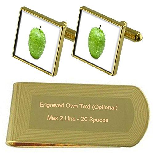 Select Gifts Frucht Grün Apple Gold-Manschettenknöpfe Geldscheinklammer Gravur Geschenkset