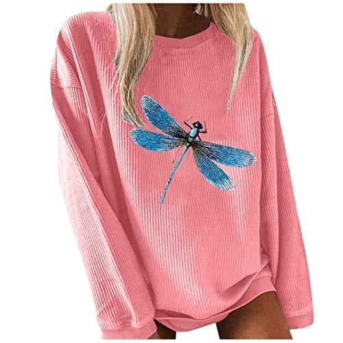 YANFANG Suéter de Manga Larga con Estampado de Mariposa de Color sólido de Moda para Mujer,2021 Novísimo Elegantes Moda Estampado Suelta Sudadera Tapas Geométrico Cuello en V Baratas Tapas