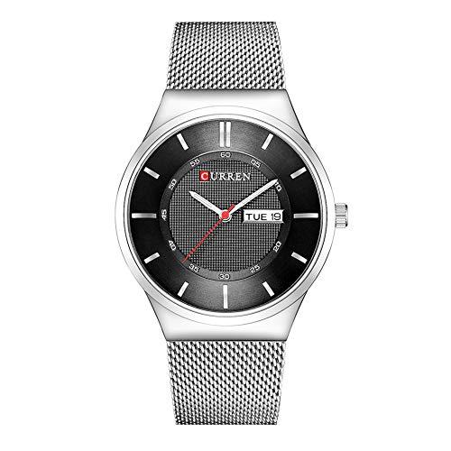 Curren Reloj de pulsera analógico para hombre con pantalla de calendario y correa de acero ultrafina, caja negra 8311
