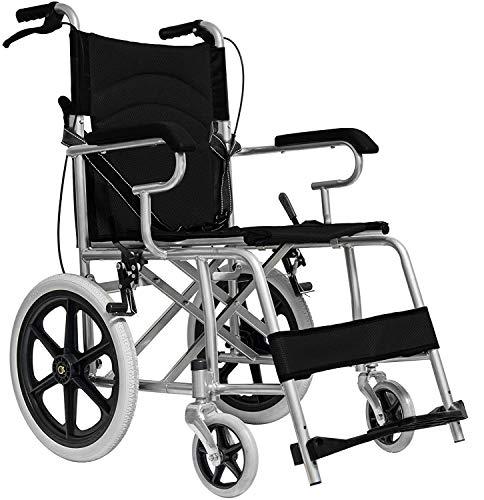 MedicalPharm Carrozzina Pieghevole Per Disabili Sedia Rotelle Spinta Assistita Con Leva Freno,Telaio In Alluminio a Doppia Crociera,Tasca Portaoggetti,86 x 58 x 93 cm Portata 150 kg,Nero