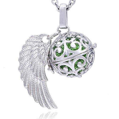 Morella Damen Schutzengel Halskette Edelstahl 70 cm mit Anhänger Engelsflügel und Klangkugel Zirkonia grün Ø 16 mm in Schmuckbeutel