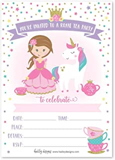 25 Unicorn Tea Party Invitation, Princess Royal Queen Crown Little Girl Birthday Invite, Kid Magical Teacup Themed Bday Supply Idea, Enchanted Tiara Fairytale Sparkle Printed or Fill in The Blank Card