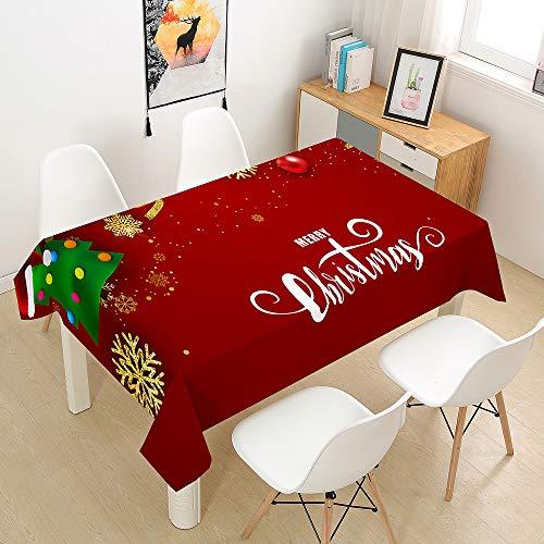 Oduo Mantel Impermeable Antimanchas Tela de Poliéster, Impresión de Navidad 3D Mantel...