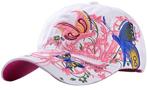 Belsen Mädchen Schmetterlings-Stickerei- Vintage Baseball Cap Snapback Trucker Hat (Erwachsene weiß)