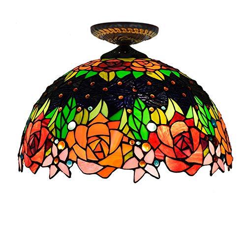 16 inch zwarte roze plafondlamp gekleurd glas plafondlamp Tiffany-Art huisverlichting voor slaapkamer Aisle gang eenvoudig