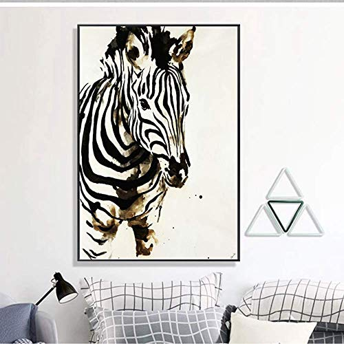 YEESEU European modern abstract animal art zebra decorative painting black picture frame wall painting mural 40 * 60CM home porch living room hotel HD micro spray happy life Art decals, home decoratio