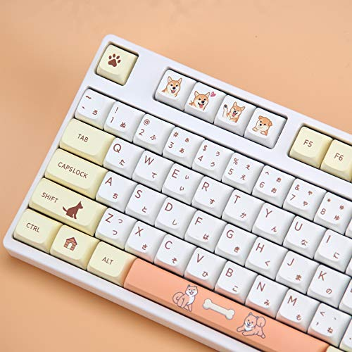 Tokey Juego de llaves XDA Profile Custom Keycaps PBT Dye Sublimation ANSI Layout Keycaps Set para Gateron Kailh Cherry MX Switches Teclados mecánicos para juegos (Shiba Inu con caracteres japoneses)