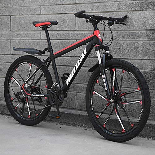 26 Zoll Mountainbike, geeignet ab 150 cm, Scheibenbremse, Vollfederung, Jungen-Fahrrad & Herren-Fahrrad,Black red,27 Speed