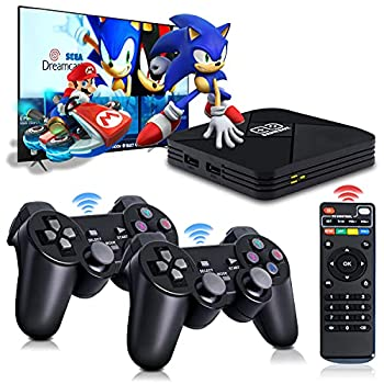 Game Consoles Powkiddy B-01 Video Game Console In 40+ Emulator Console For 4k TV HD Output,32000+ Games In Super Console X Pro ,Retro Console With Dual Wireless 2.4g Controllers,Gift For Adult/Child