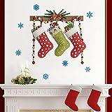 Medias de Navidad Etiquetas de pared creativas Fondo de la habitación de los niños Armario de pared Decoración navideña 2 cm * 30 cm