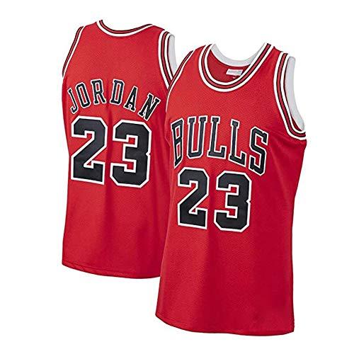 # 23 Bulls Michael Jordan Classic Retro Baloncesto Camisetas y pantalones cortos, Hombres Deportes al aire libre Casual Transpirable Malla T-shirt rojo B-XXL