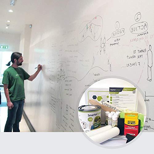 Smarter Surfaces Whiteboard Farbe - Whiteboard Wandfarbe - Beschreibbare Wand - Trocken Abwischbare Oberfläche für Zuhause und Büro (Weiß, 6m²)