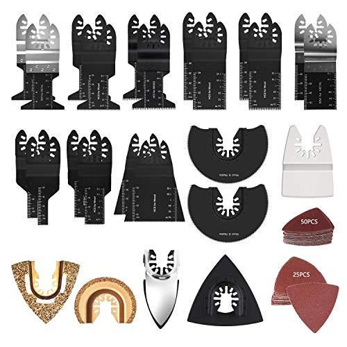 Hojas de Sierra, 102 Hojas de Sierra Multiherramienta oscilantes de Madera de Metal, liberación rápida, se Ajustan a Fein Black & Decker