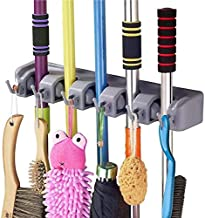 SHOPPERWORLD™ Broom & Mop Holder Wall Mounted Hanger Organizer Stand, 5 Positions with 4 Hooks and Holds Up to 9 Tools (Multi Color)