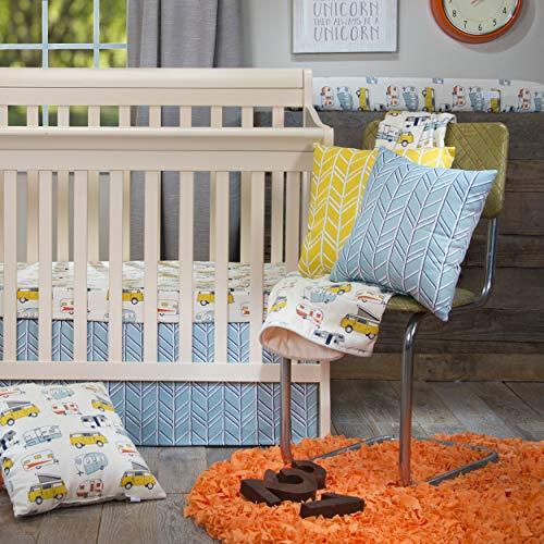 Glenna Jean Happy Camper Mini Crib 2 Piece Set, Cream, Blue, Yellow, Vanlife