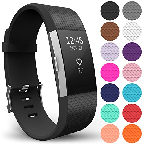 Yousave Accessories Compatible Strap for FitBit Charge 2, Silicone Sport Wristband - (Large - Single Pack, Black)