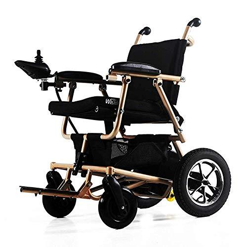 TWL LTD-Wheelchairs Silla de Ruedas Eléctrica con Tapa Abatible - Plegable Ultra Portátil para Ancianos Discapacitados Silla de Ruedas, Reposapiés Elevables para Mayor Comodidad, Rojo, Dorado