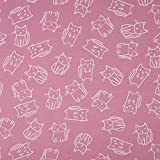 0,5m Jersey Katzen Beere rosa Motivgröße ca. 5cm 95%