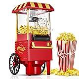 Macchina Popcorn Retrò, 1200W Aria Calda Macchina per Popcorn per la Casa, Senza Grassi e Olio, per Feste di Natale e Feste al...