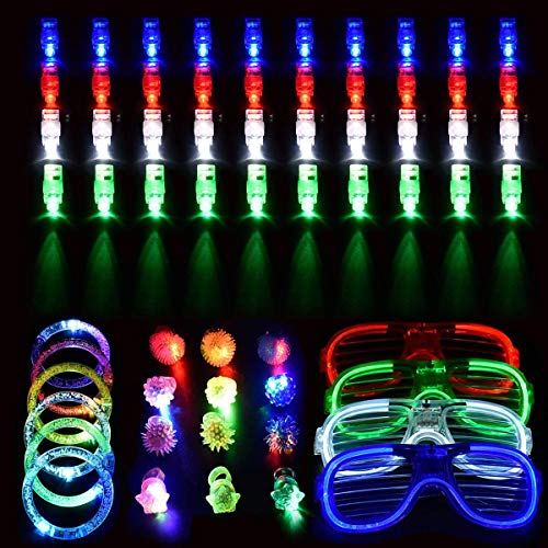 SanGlory 62 Pcs LED Spielwaren Party Zubehör Mitgebsel für Kinder Kindergeburtstag Gastgeschenke - 40 LED Fingerlicht Fingerring Leuchtringe, 12 LED Blinkend Ringe 6 Armbändern und 4 LED Brille